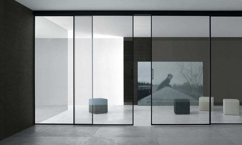 Porte Scorrevoli in vetro serie Velaria Con Binari a Scomparsa – Imag
